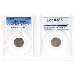 Liberty Seated Ten Cents.  1884-S.  PCGS graded Genuine EF details.  Damage…
