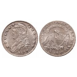 Capped Bust Half Dollar.  1822.  Extra Fine-45.  Near full luster.