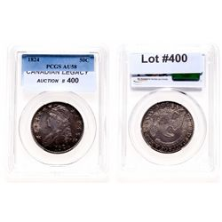 Capped Bust Half Dollar.  1824.  PCGS graded AU-58.  Medium heavy, multi-hu…