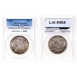Capped Bust Half Dollar.  1830. Small O.  PCGS graded Genuine.  AU details.…