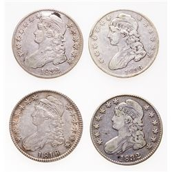 Capped Bust Half Dollars.  1832, (2 pcs.). 1834.  All Fine-12 or better.  1…