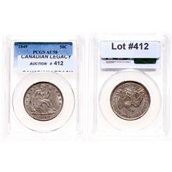 Liberty Seated Half Dollar.  1849.  PCGS graded AU-58.  Lightly toned.