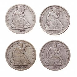 Liberty Seated Half Dollar.  1858, 1858-O.  Both Fine-12 or better;  1871-S…