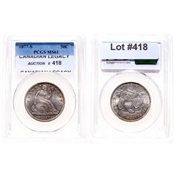 Liberty Seated Half Dollar.  1877-S.  PCGS graded Mint State-61.  Lustrous,…