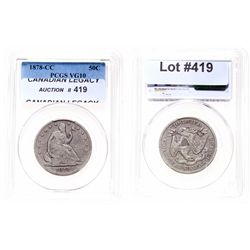 Liberty Seated Half Dollar.  1878-CC.  PCGS graded Very Good-10.
