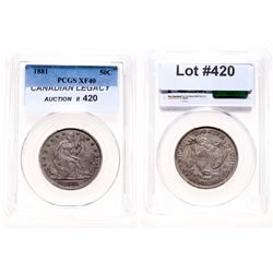 Liberty Seated Half Dollar.  1881.  PCGS graded Extra Fine-40.  Lightly ton…