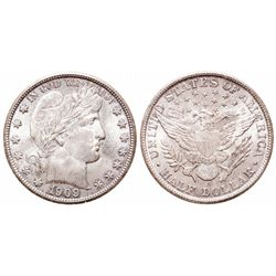 Barber Half Dollar.  1909-S.  Mint State-63.  Light, even rainbow toning.