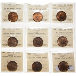 Victorian Large Cent Lot.  1859, Narrow 9. ICCS Mint State-63. Red-Brown. 5…