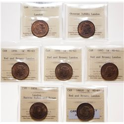 Victorian Large Cent Lot.  1859, Narrow 9.  ICCS Mint State-63. Red-Brown. …