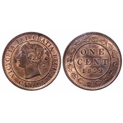 Large Cent.  1859. Wide 9.  ICCS Mint State-63. Red-Brown.