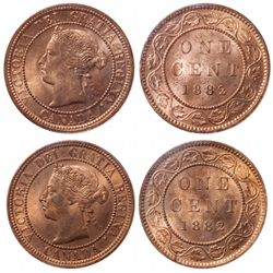 Victorian Large Cent Pair.  1882-H. Obv. port. #1. ICCS Mint State-65. Red.…