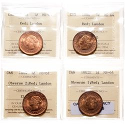 Victorian Large Cent Lot. 1882-H. Obv. port. #1.  ICCS Mint State-64. Red. …