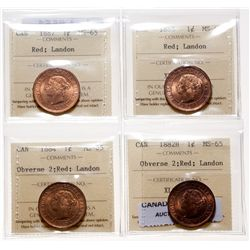 Victorian Large Cent Lot. 1882-H. Obv. port. #2. ICCS Mint State-65. Red. 8…