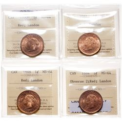 1884. Obverse port. #2.  ICCS Mint State-64. Red.  85% even red-gold luster…
