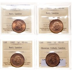 1884. Obverse port. #2.  ICCS Mint State-64. Red.  80% even red-gold luster…