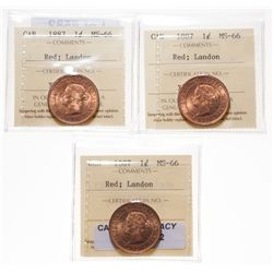 1887.  ICCS Mint State-66. Red. 90% even red-orange luster.  Lot of three (…