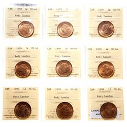 1899.  ICCS Mint State-64. Red.  85% or more red luster.  Lot of nine (9) l…
