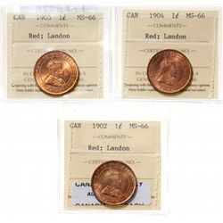 1902.  ICCS Mint State-66. Red.  90%+ even red-orange luster;  1904.  ICCS …