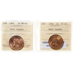 1904.  ICCS Mint State-66. Red.  95% even red-orange luster;  1905.  ICCS M…