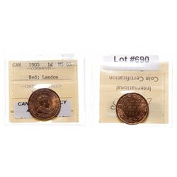 1905.  ICCS Mint State-65. Red.  90% even red-orange luster.