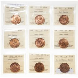 1905.  ICCS Mint State-64. Red-Brown.  50% red luster;  1908.  ICCS Mint St…