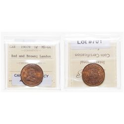 1907-H.  ICCS Mint State-64. Red-Brown.  40% luster.
