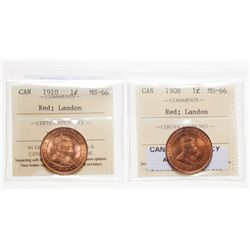 1908.  ICCS Mint State-66. Red.  90% even red-orange luster;  1910.  ICCS M…