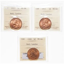 1908.  ICCS Mint State-66. Red.  95% even red-orange luster;  1911.  ICCS M…