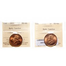 1911.  ICCS Mint State-66. Red.  95% even red-orange luster;  1916.  ICCS M…