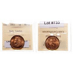 1911.  ICCS Mint State-66. Red.  95% even red-orange luster.