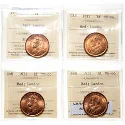 1911.  ICCS Mint State-66. Red.  90% even red-orange luster.  Lot of four (…