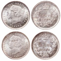 Five Cents. 1899. ICCS Mint State-65. Brilliant and lustrous. 1901. ICCS Mi…