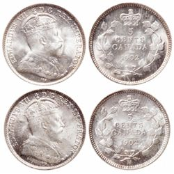 Five Cents Silver Pair.  1902. ICCS Mint State-66. Brilliant and lustrous; …