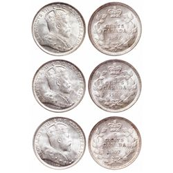 Five Cents Trio. 1902. ICCS Mint State-66. Brilliant and lustrous; 1902-H. …