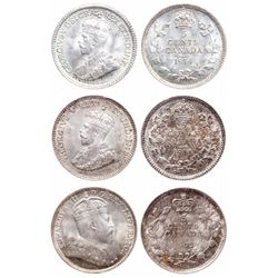 Five Cents Trio. 1902. ICCS Mint State-66. Light, multi-hued toning; 1911. …