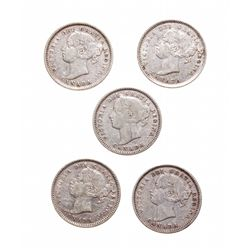 Ten Cents. 1883-H. VG-8; 1885. Fine-15; 1887. Fine-12; 1888. Fine-18; 1891.…