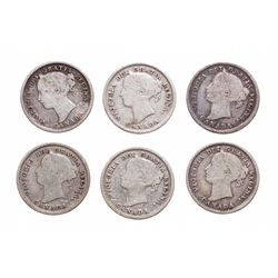 Ten Cents. 1884. Good-4 to Good-6 or better. Lot of six (6) coins.