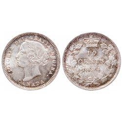 Ten Cents.  1894. Obverse port. #5.  ICCS Mint State-65.  Very light golden…