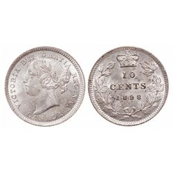Ten Cents.  1898. Obverse port. #6.  Mint State-60.  Brilliant and satiny f…