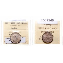Twenty-Five Cents.  1903.  ICCS Mint State-63.  Medium heavy gray toning wi…