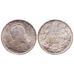 Twenty-Five Cents.  1905.  ICCS Mint State-65.  Medium heavy obverse toning…