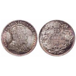 Twenty-Five Cents.  1906. Large Crown.  ICCS Mint State-65.  Light to mediu…