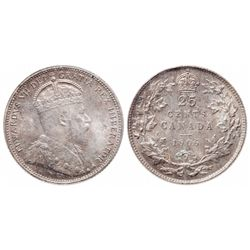 Twenty-Five Cents.  1906. Large Crown.  ICCS Mint State-64.  Light to mediu…