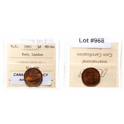 Half Cent.  1861.  ICCS Mint State-64. Red.  50% remaining red luster.