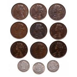 One Cent.  1865,  1876-H,  1880, R.O., E.D.,  1894.  All EF-40 to EF-45;  1…