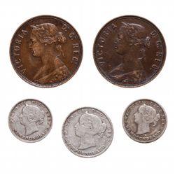 One Cent.  1885.  Fine-15, (2 pcs.);  Five Cents.  1876-H,  1888.  Both Fin…