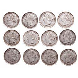 Twenty Cents.  1872-H,  1876-H,  1888,  1890,  1894,  1896, Lg. Date,  1896…