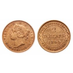 $2.00 GOLD.  1865.  Very Fine-20 or better.  Brilliant yellow-orange gold.