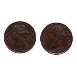 Half Cent.  1861.  Very Fine-20;  1861.  Fine-12. Slightly bent.  Lot of tw…