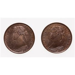 Half Cent.  1864.  Mint State-63.  Red-Brown.  Lot of two (2) coins, both w…